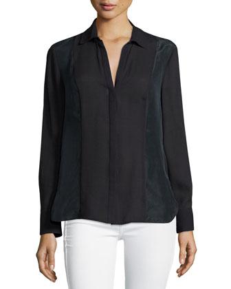 Long-Sleeve Slim-Fit Shirt, Black