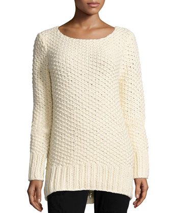 Long-Sleeve Textured Sweater, Vanilla