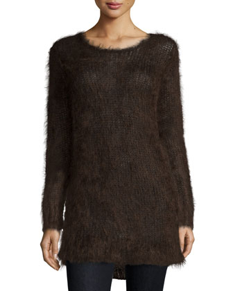 Long-Sleeve Round-Neck Sweater, Chocolate