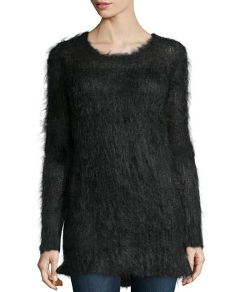 Long-Sleeve Round-Neck Sweater, Charcoal