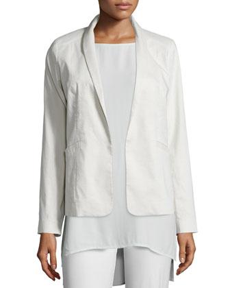 Polished Ramie Stretch Jacket, Bone, Women's