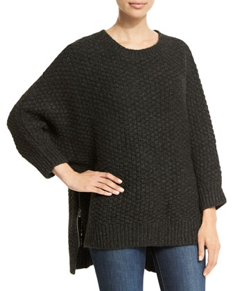 3/4-Sleeve Basketweave Sweater, Charcoal Melange