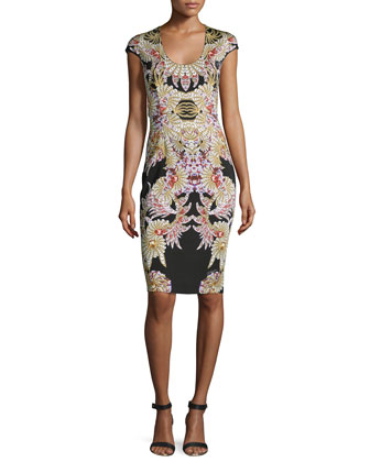 Fairy Mermaid-Print Sheath Dress
