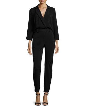 Long-Sleeve Slim-Leg Jumpsuit, Black