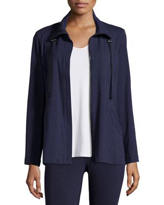 High-Collar Stretch Jersey Jacket, Sleeveless Scoop-Neck Tee & Stretch ...