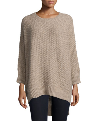 Long-Sleeve Basket-Weave Sweater, Bison Melange