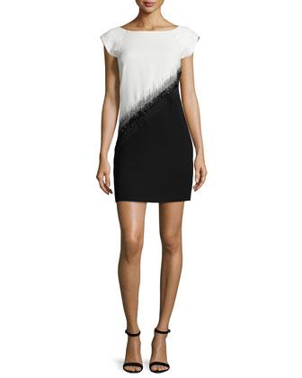 Embellished Colorblock Mini Dress, Bone/Black
