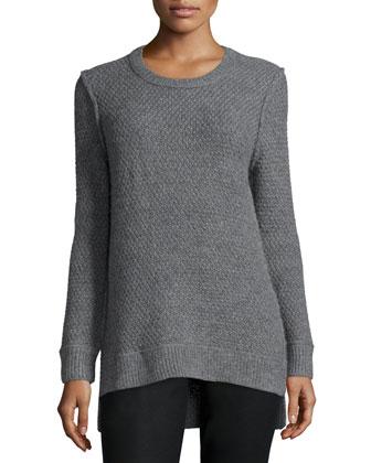 Long-Sleeve Split-Hem Sweater, Banker Melange