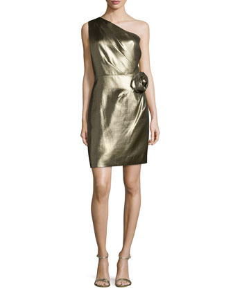 One-Shoulder Metallic Dress, Gold