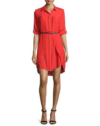 Long-Sleeve Belted Shirtdress, Lipstick
