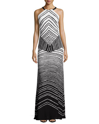 Halter-Neck Striped Maxi Dress, Black/Bone