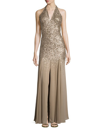 Halter-Neck Embellished Gown, Gold