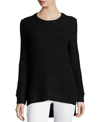 Long-Sleeve Split-Hem Sweater, Black