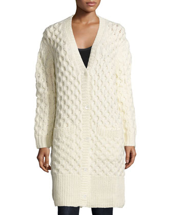 Button-Front Textured Long Cardigan, Vanilla