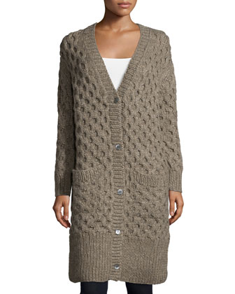 Button-Front Textured Long Cardigan, Bison Melange