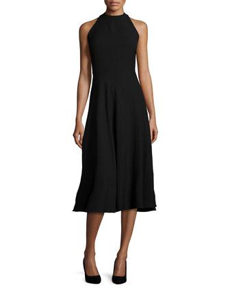 Sleeveless Fit-&-Flare Dress W/Cutouts, Black