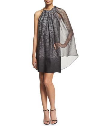 Cape-Sleeve Shift Dress, Gray