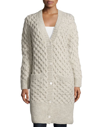 Button-Front Textured Long Cardigan, Oatmeal Melange