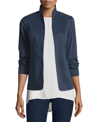 Polished Ramie Stretch Jacket, Silk Jersey Long Slim Camisole, Silk Shibori ...