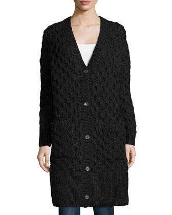Button-Front Textured Long Cardigan, Charcoal Melange