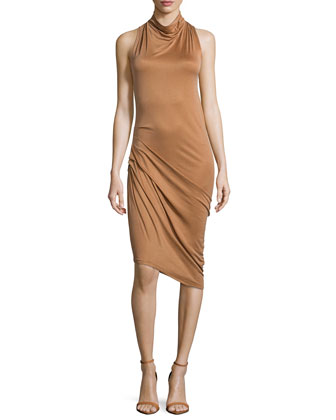 Sleeveless Side-Ruched Dress, Rust