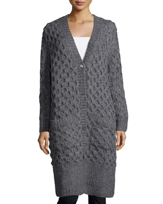 Button-Front Textured Long Cardigan, Banker Melange