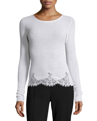 Long-Sleeve Lace-Trim Sweater