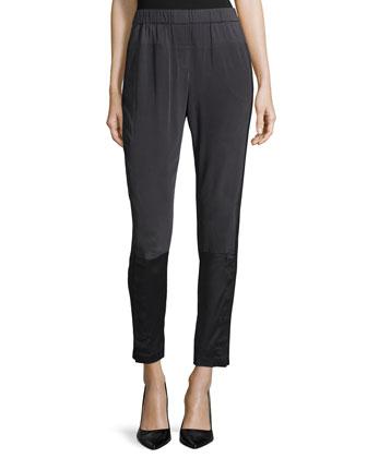 Slim-Leg Pull-On Pants, Charcoal