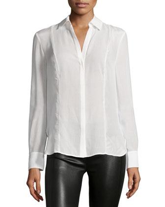 Long-Sleeve Collared Shirt, Linen White