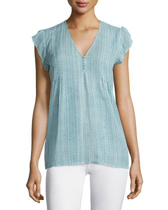 Macy B Tonal-Braid Printed Silk Top