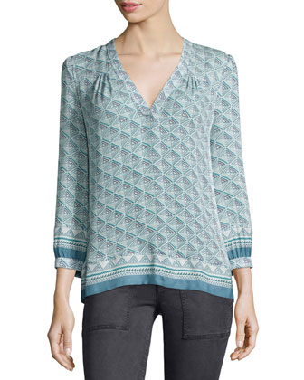 Jesslyn 3/4-Sleeve Printed Top, Seaweed