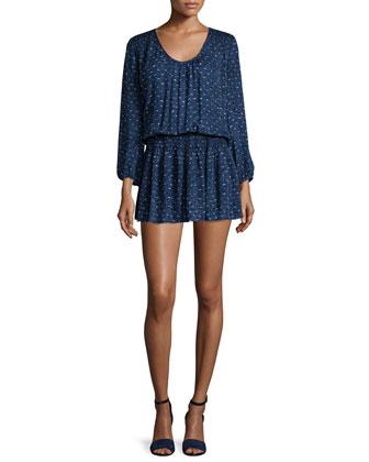 Bain Textured-Print Silk Dress
