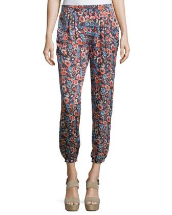 Augen Floral-Print Silk Pants