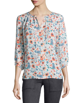 Barba Floral-Print Top, Porcelain