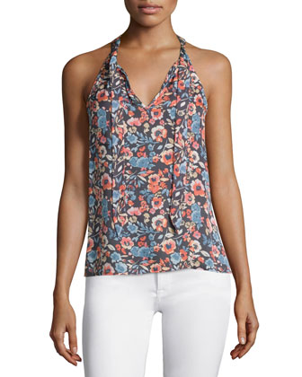 Alcalla Floral-Print Silk Top