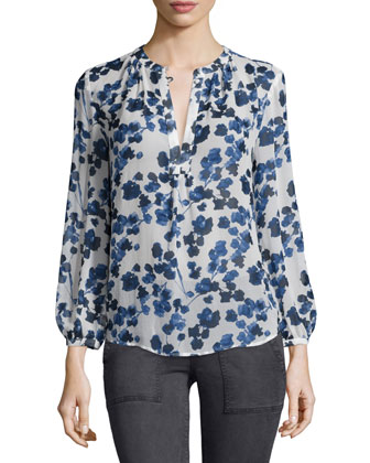 Amaral Long-Sleeve Printed Top, Deep Chambray