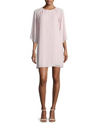 Kimono-Sleeve Shift Dress, Sorbet