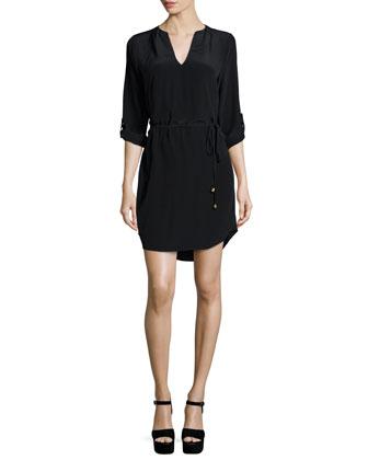 Motega Tie-Waist Silk Dress