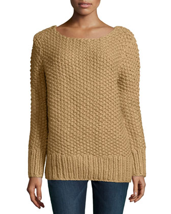 Long-Sleeve Textured Sweater, Fawn
