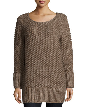 Long-Sleeve Textured Sweater, Java Melange