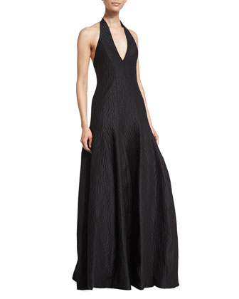 Deep-V-Neck Tulip Gown, Black