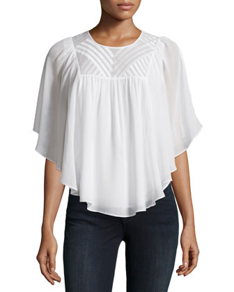 Patel Embroidered Flowy Top, Porcelain
