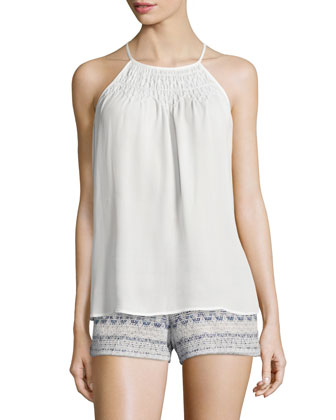 Kealy Sleeveless Halter-Neck Top, Porcelain