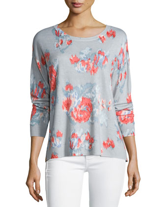 Eloisa Ikat Floral-Print Cashmere Sweater