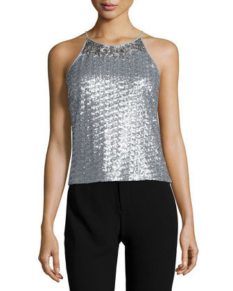 Round-Neck Sequined Tank, Vapor/Silver
