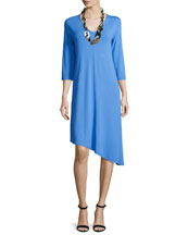 3/4-Sleeve Asymmetric Jersey Dress