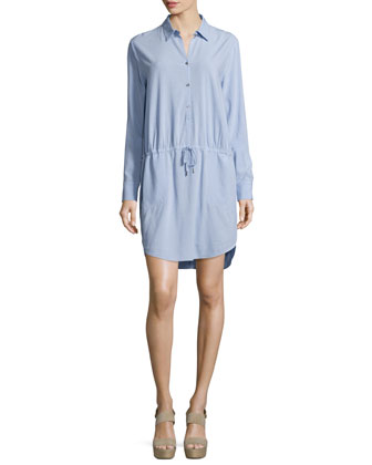 Long-Sleeve Drawstring-Waist Shirtdress, Sky
