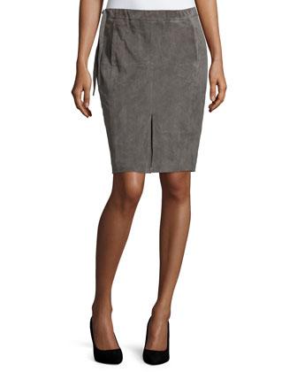Drawstring-Waist Suede Pencil Skirt, Dark Gravel