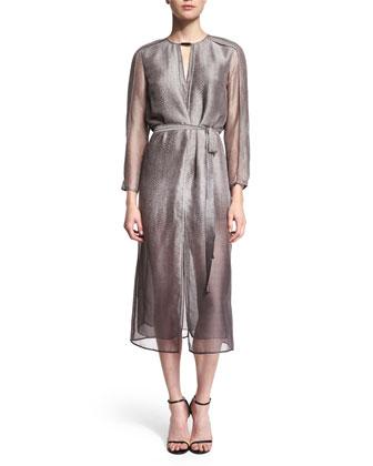 3/4-Sleeve Belted Shirtdress, Gravel Print