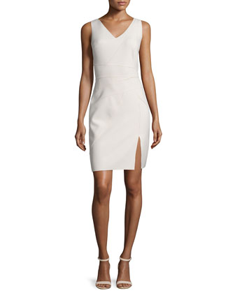 Sleeveless Seamed Sheath Dress, Dark Bone